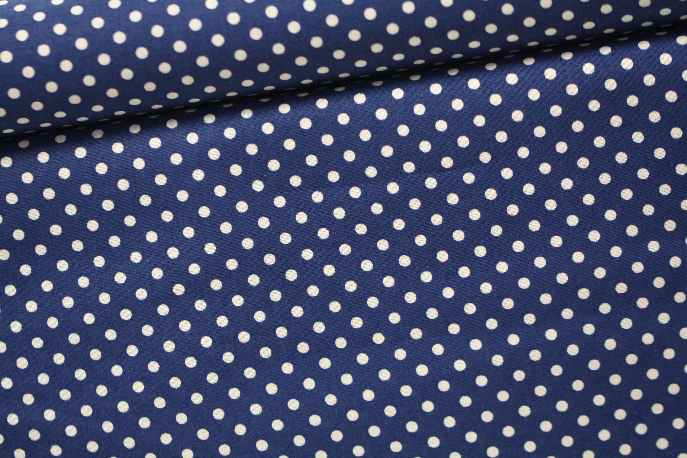 Judith Baumwolle Webware Swafing dunkel blau weiße Punkte 2mm 25cm x 148cm